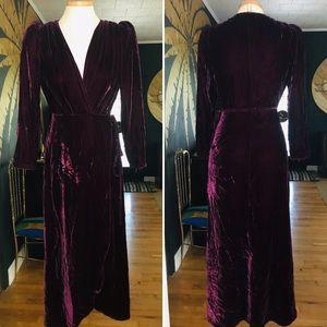 Reformation Peonie Velvet Wrap Dress